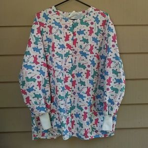 Vintage Bear Scrub Top Long Sleeve 3XL